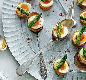 Quails Eggs on Spoons