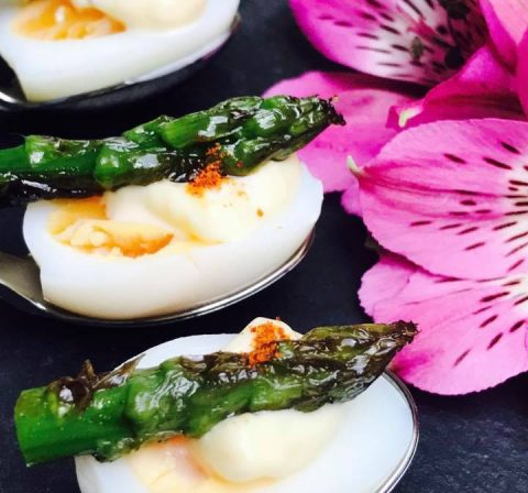 Quails Eggs with Asparagus